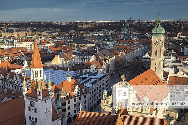 View of historic centre  downtown Munich  front Old Town Hall and Heiliggeistkirche Munich  Upper Bavaria  Bavaria  Germany  Europe
