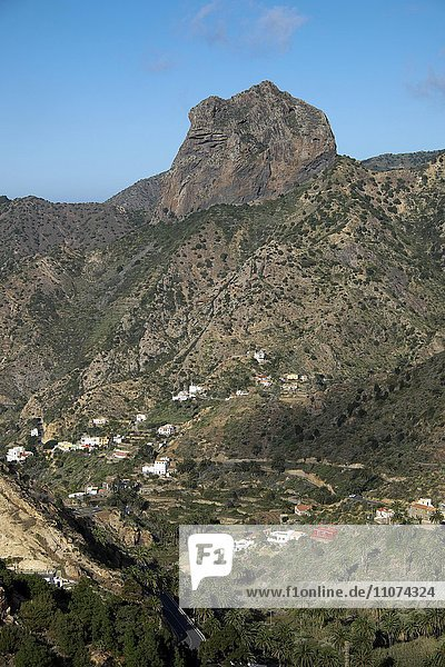 Vallehermoso with the rock massif Roque Cano  La Gomera  Canary Islands  Spain  Europe