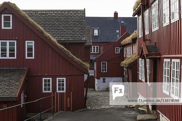 Rote Holzhäuser in der Altstadt  Tórshavn  Streymoy  Färöer  Nordatlantik