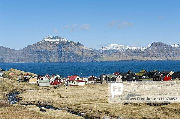 Colorful houses by the sea  Gjógv village  Eysturoy  Faroe Islands  Føroyar  Denmark  Europe