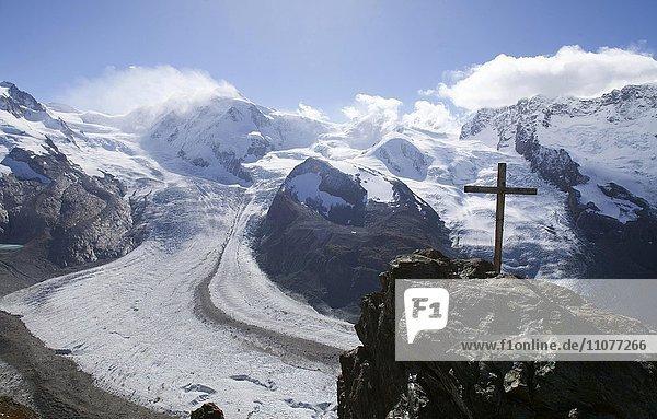Lyskamm  Castor und Pollux  Aussicht vom Gornergrat auf Gornergletscher  Zermatt  Wallis  Schweiz  Europa