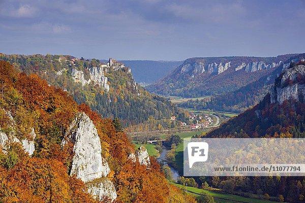 Schloss Werenwag  Naturpark Obere Donau  Schwäbische Alb  Baden-Württemberg  Deutschland  Europa