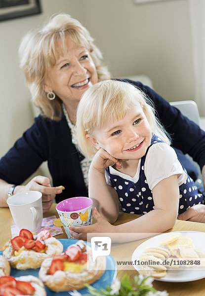 Portrait of girl  mother and grandmother
