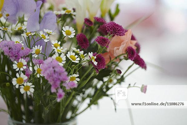 Nahaufnahme von Blumen in Vase auf Tisch