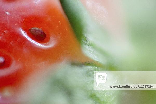 Extreme Nahaufnahme von frischen Erdbeeren