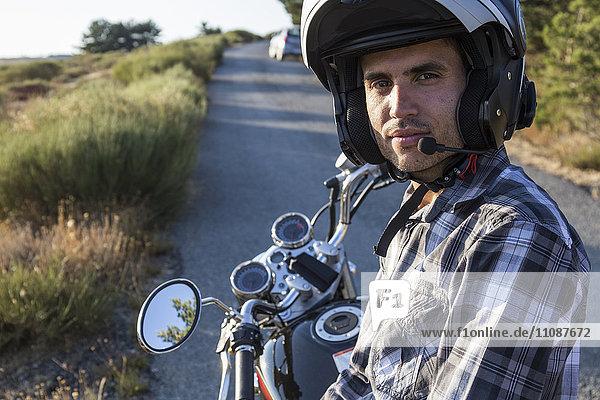 Portrait des Motorradfahrers