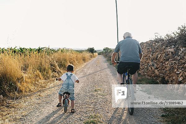 Rückansicht des kleinen Jungen und seines Urgroßvaters auf der Fahrradtour
