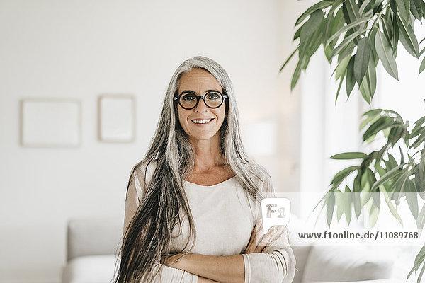 Porträt Einer Lächelnden Frau Mit Langen Grauen Haaren Und Brille Zu