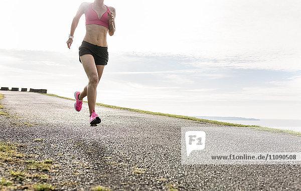 Female runner training outdoor