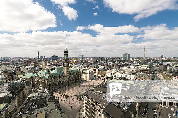 Germany  Hamburg  aerial view  town hall  old town  neustadt and