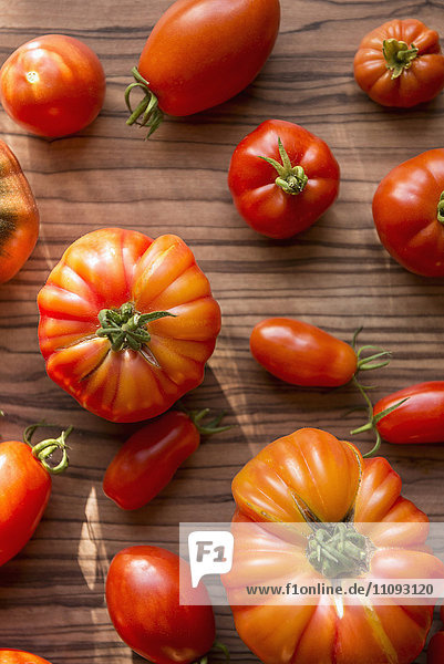 Close-up of variety of tomatoes on table  Munich  Bavaria  Germany