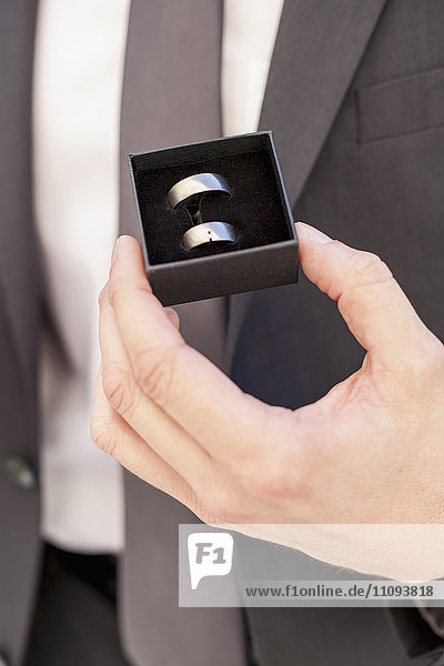 Groom holding his wedding ring