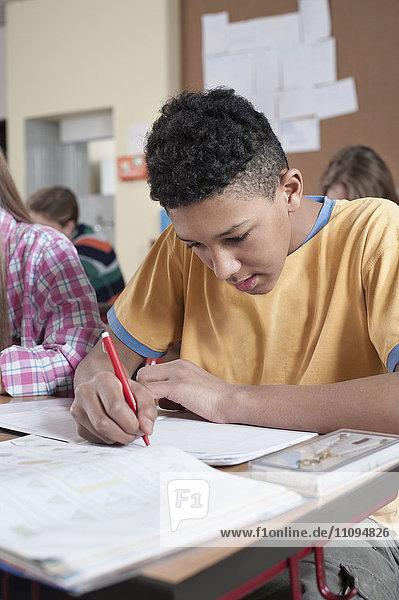 University students studying in classroom  Bavaria  Germany
