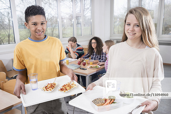 University students having lunch in canteen  Bavaria  Germany