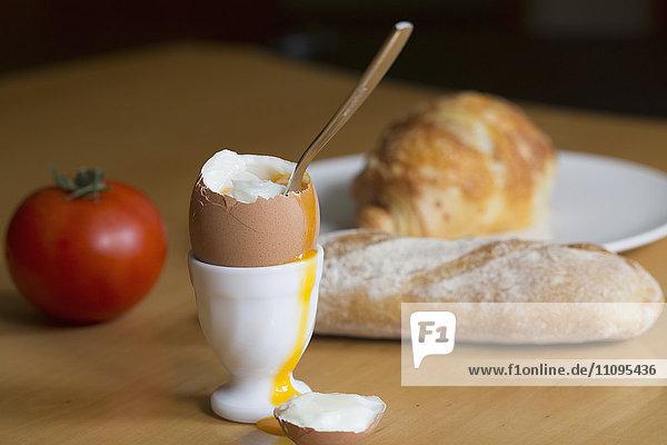 Half boiled egg on egg cup  Freiburg im Breisgau  Baden-Württemberg  Germany