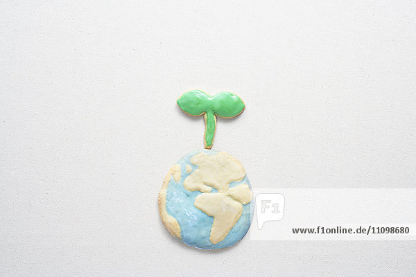 Cookies of planet earth and sapling