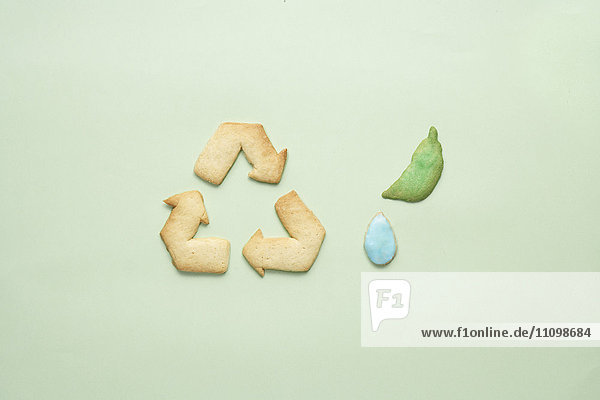Cookies of recycling symbol  leaf and dew drop