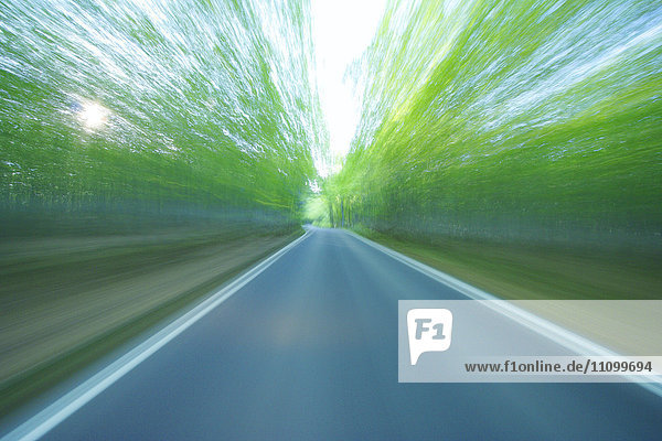 Blurred View of Rural Road
