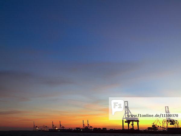 Yumeshima International Shipping Container Terminal at Night