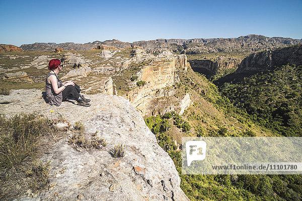 Tourist in Isalo National Park  Ihorombe Region  Southwest Madagascar  Africa