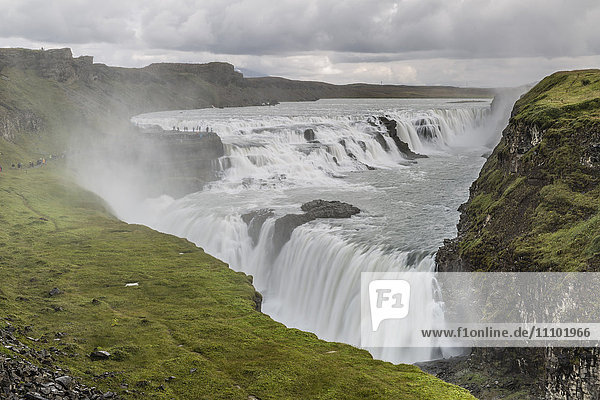 Gullfoss (Golden Falls)  a waterfall located in the canyon of the Hvita River in southwest Iceland  Polar Regions
