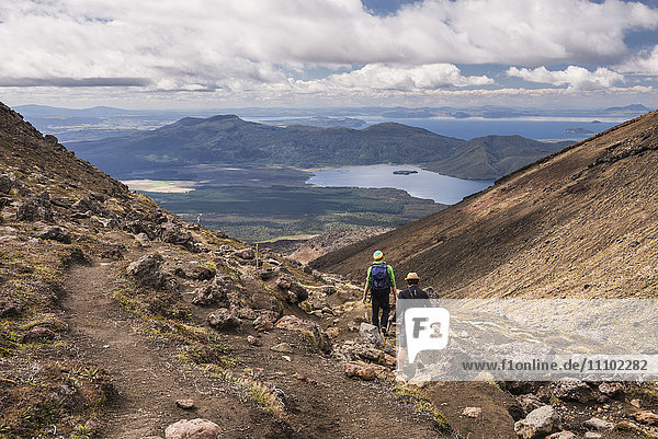 Descending from Tongariro National Park after completing the Tongariro Alpine Crossing  UNESCO World Heritage Site  North Island  New Zealand  Pacific
