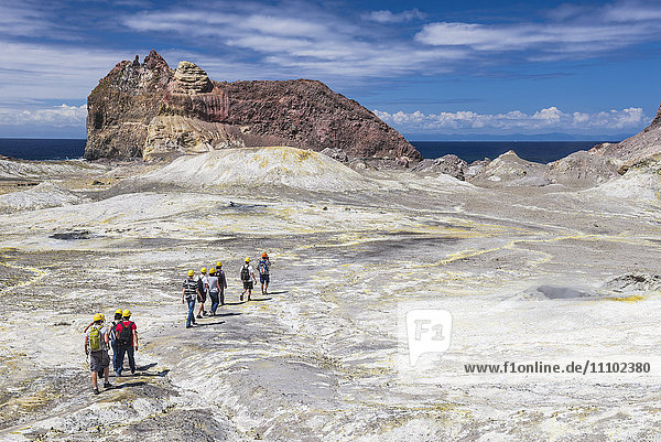 Tourists exploring White Island Volcano  an active volcano in the Bay of Plenty  North Island  New Zealand  Pacific