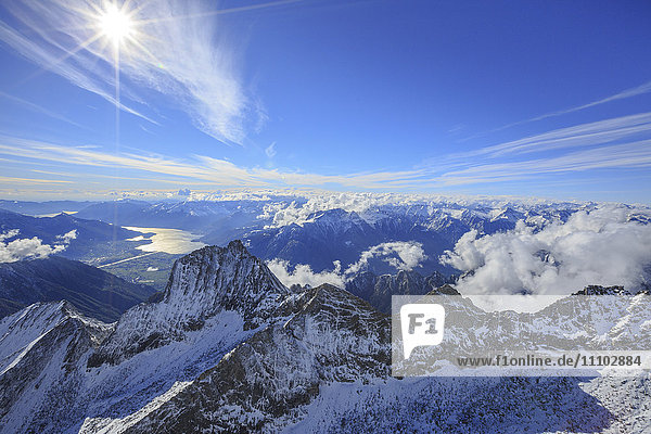 Aerial view of Sasso Manduino and Lake Como in the background  Val Dei Ratti  Chiavenna Valley  Valtellina  Lombardy  Italy  Europe