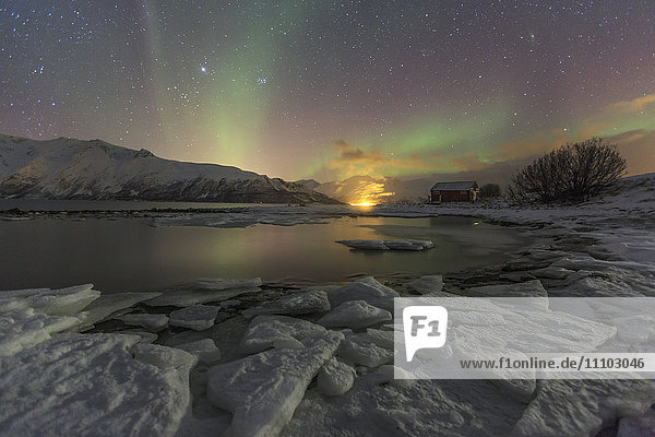 The Northern Lights illuminates the icy landscape in Svensby  Lyngen Alps  Troms  Lapland  Norway  Scandinavia  Europe