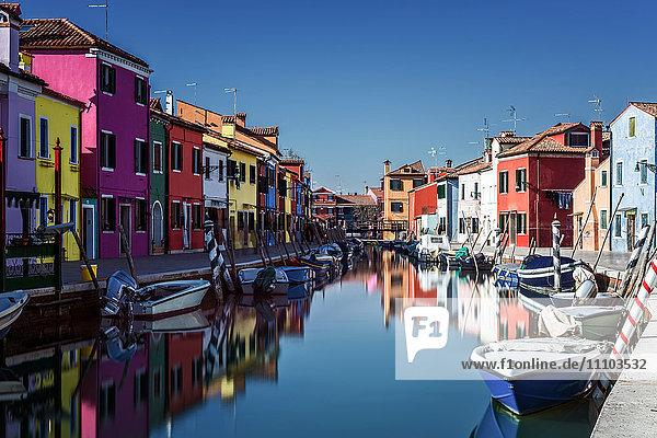 Colored houses on the island of Burano  Venice  UNESCO World Heritage Site  Veneto  Italy  Europe