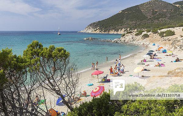 Mediterranean vegetation frames the beach and the turquoise sea of Porto Sa Ruxi  Villasimius  Cagliari  Sardinia  Italy  Mediterranean  Europe