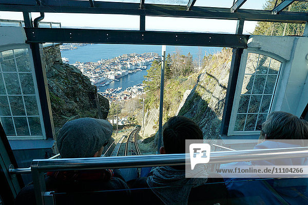 Floibanen funicular railway with view of Bergen from Mount Floyen  Bergen  Hordaland  Norway  Scandinavia  Europe