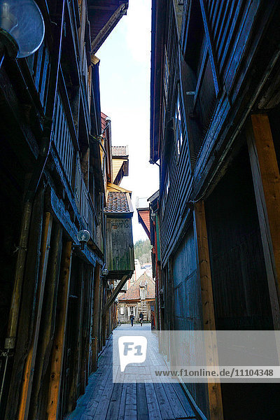 Small alleyways in the Hanseatic quarter  Bryggen  Bergen  Hordaland  Norway  Scandinavia  Europe