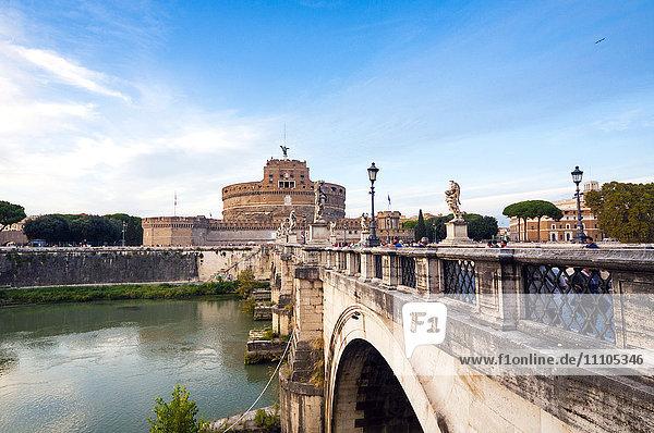 Mausoleum of Hadrian (Castel Sant'Angelo)  Ponte Sant'Angelo  Tiber River  UNESCO World Heritage Site  Rome  Lazio  Italy  Europe