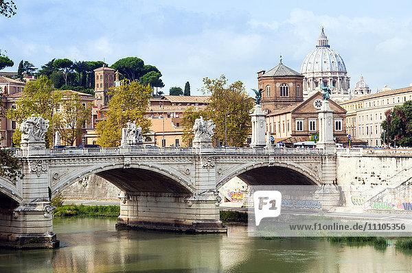 Ponte Vittorio Emanuele II over the River Tiber  Rome  Lazio  Italy  Europe