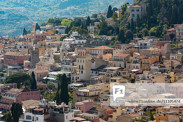 View of the hill town of Taormina  Sicily  Italy  Mediterranean  Europe