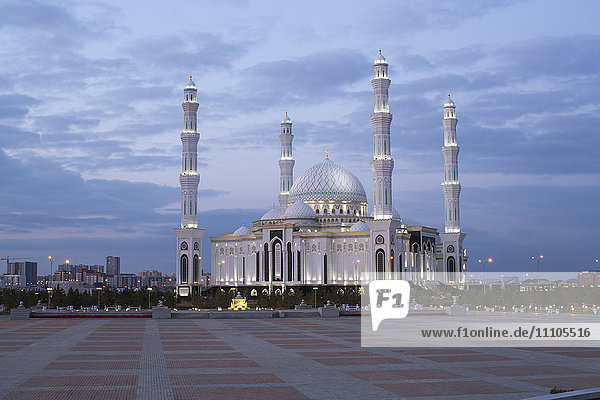 Hazrat Sultan Mosque  the largest in Central Asia  at dusk  Astana  Kazakhstan  Central Asia
