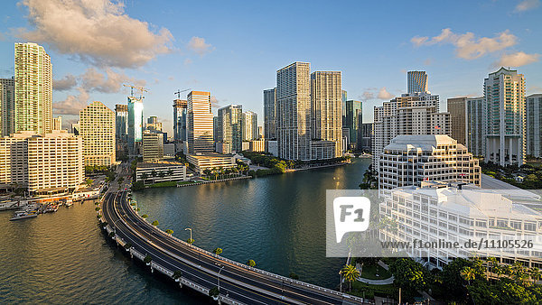 View from Brickell Key  a small island covered in apartment towers  towards the Miami skyline  Miami  Florida  United States of America  North America