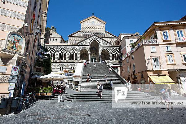 Piazza Duomo  Duomo di Amalfi  Amalfi  Costiera Amalfitana (Amalfi Coast)  UNESCO World Heritage Site  Campania  Italy  Europe