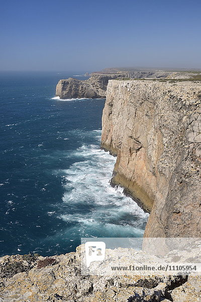 Limestone cliffs running north from Cape St. Vincent (Cabo de Sao Vicente)  Europe's most southwesterly point  Algarve  Portugal  Europe