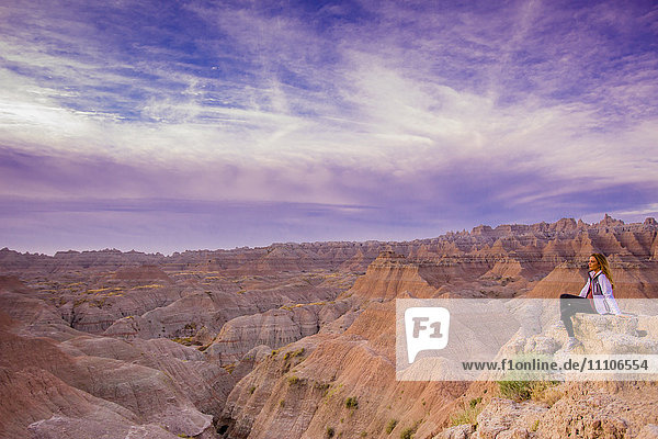 Laura Grier at sunrise at The Badlands  Black Hills  South Dakota  United States of America  North America