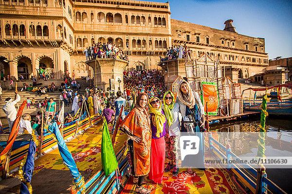 Travelers participating in the Flower Holi Festival  Vrindavan  Uttar Pradesh  India  Asia