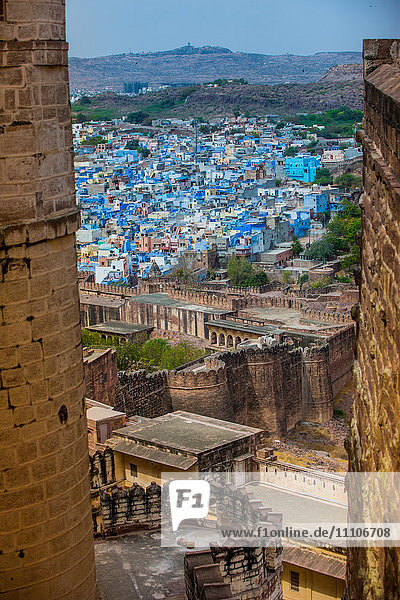 The view from Mehrangarh Fort of the blue rooftops in Jodhpur  the Blue City  Rajasthan  India  Asia
