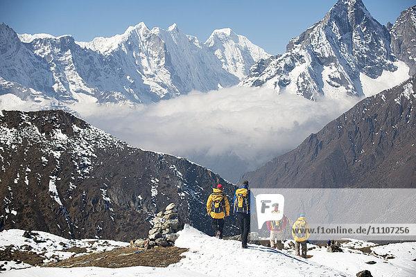 Trekking in the Everest region  Himalayas  Nepal  Asia
