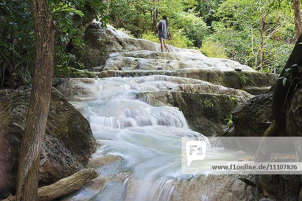 Erawan Falls  Erawan National Park  Kanchanaburi  Thailand  Southeast Asia  Asia