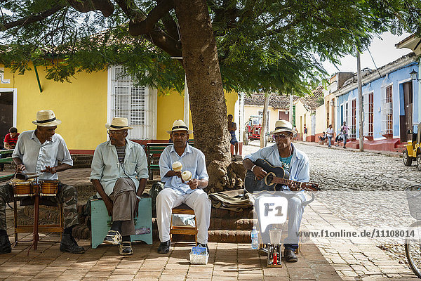 Music band playing at a square in Trinidad  Sancti Spiritus Province  Cuba  West Indies  Caribbean  Central America