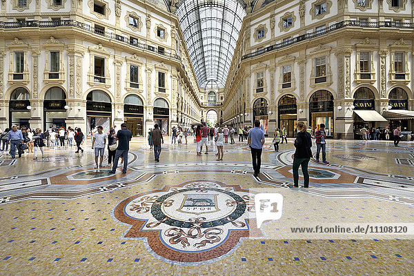 Mosaic tiled floor  Vittorio Emanuele II Gallery  Milan  Lombardy  Italy  Europe