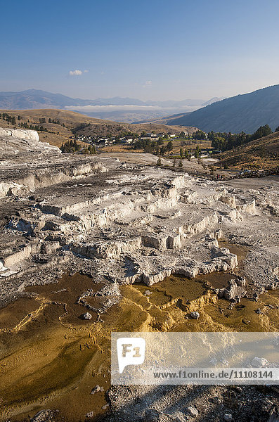Mammoth Hot Springs terraces  Yellowstone National Park  UNESCO World Heritage Site  Wyoming  United States of America  North America