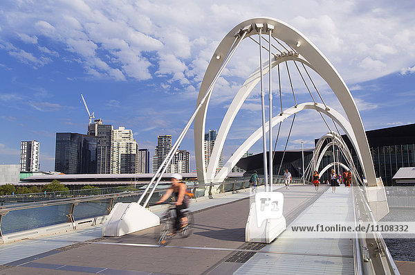 People crossing Seafarers Bridge  Melbourne  Victoria  Australia  Pacific