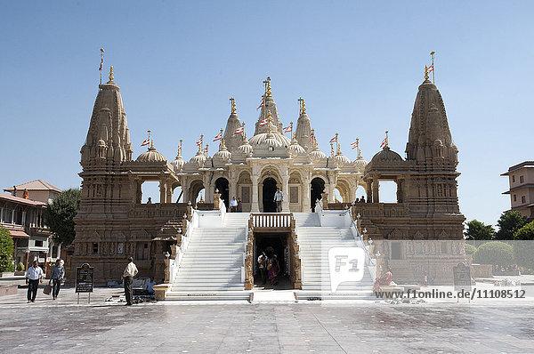 The carved white marble Jain Swaminarayan temple  Gondal  Gujarat  India  Asia